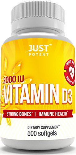 Vitamin D3 Supplement by Just Potent :: 500 Softgels :: 2000 IU :: Strong Bones & Immune Health :: The Benefits of the Sun in a Tiny Softgel :: 500 Days of Uninterrupted Supply :: Gluten Free