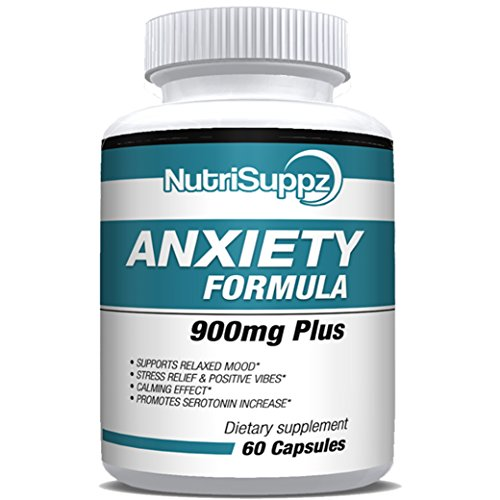 Anti Anxiety Formula 900mg With Gaba, L-Theanine, 5-HTP, Ashwagandha, Magnesium Oxide, St. John's Wort, Chamomile - Positive Mood, Relaxed Mind, Promote Higher Serotonin, Live In Peace & Happiness