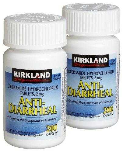 Kirkland Signature Anti-Diarrheal Loperamide Hydrochloride 2 MG Caplets, 200-Count Bottles (Pack of 2)