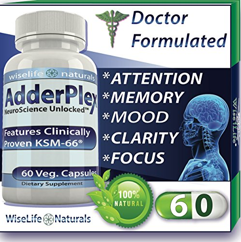 AdderPlex Best Organic Focus Energy Add Attention Boost Mood Increase Brain Memory Mental Cognitive Enhancer Anti - Stress Anxiety Depression Panic w Ashwagandha Ginkgo Ginseng Nerve Tonic Super Food