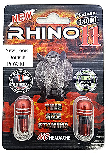 Rhino 11 Double Platinum 18000 - Now Double POWER - Male Sexual Enhancement Supplement - 6 Pills (18K)