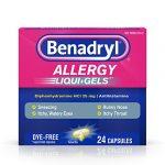 Benadryl  Antihistamine Allergy Medicine & Cold Relief, Dye-Free LIQUI-GELS Tablets, Liquid Gels, 24 Count (Pack of 2)