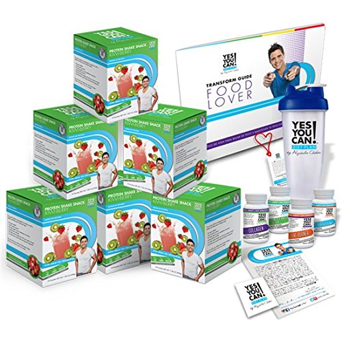 Yes You Can! Diet Plan Transform Kit Food Lover: Protein Shake Snacks, 30 Fat Burner Pills, 30 Appetite Suppressant Pills, 30 Colon Cleanser Pills, 30 Collagen Pills, 1 Bilingual Transform Guide (Spanish/english), 1 Shaker Bottle, 1 Yes You Can!™ Diet Plan Heart Shaped Band,1 Certificate of Success and 1 Yes You Can! Diet Plan Sticker. (Kiwi Berry, 60 Protein Shakes)