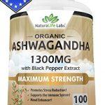 Organic Ashwagandha 1300mg – 100 vegan capsules Pure Organic Ashwagandha root extract and powder – Natural Anxiety Relief, Mood Enhancer, Immune & Thyroid Support, Anti Anxiety