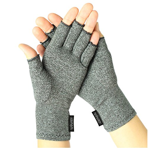 Arthritis Gloves by Vive - Compression Gloves for Rheumatoid & Osteoarthritis - Hand Gloves Provide Arthritic Joint Pain Symptom Relief - Men & Women - Open Finger (Small)