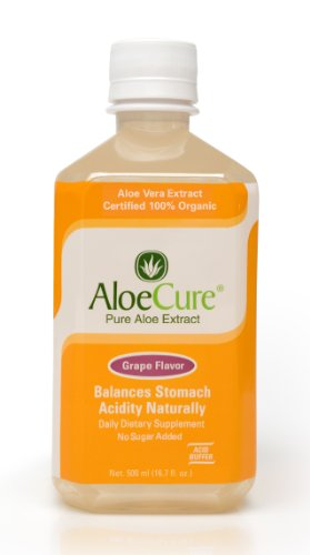 AloeCure Pure Aloe Vera Juice for Bouts of Acid Reflux, Heartburn, and IBS Grape, 16.7 fl oz, 1 Bottle