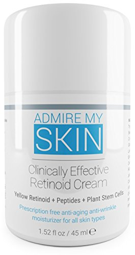 Admire My Skin Retinoid Cream- Compare To Tretinoin, Retin A Cream For Potent Acne Treatment & Anti Aging Moisturizer - Contains Retinoic Acid, Peptides & Plant Stem Cells.