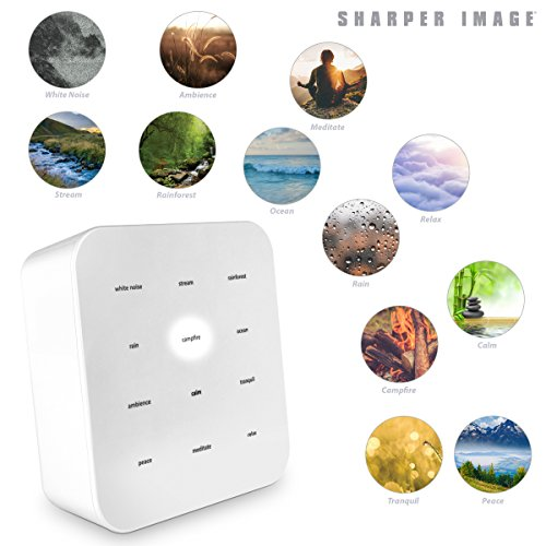 Sharper Image Ultimate Sleep Sound Soother for Adults & Kids, Soothing Musical Machine For Stress & Anxiety Relief, Promotes Healthy Sleeping Pattern With Relaxing White Noises