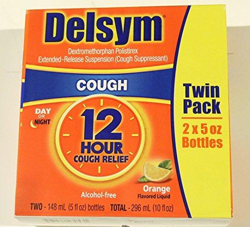 Delsym Cough Suppressant Alcohol Free Orange Flavored Liquid- 2 Pack, 5 ounces Bottle