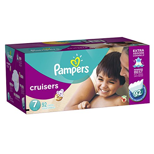 Pampers Cruisers Disposable Diapers Size 7, 92 Count, ECONOMY PACK PLUS