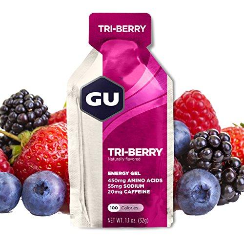 GU Energy Original Sports Nutrition Energy Gel, Tri Berry, 24-Count