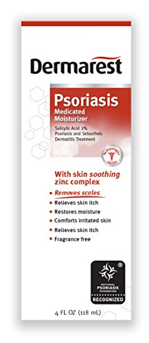 Dermarest Psoriasis Medicated Moisturizer | 4 oz | Salicylic Acid 2% | Soothing Zinc Complex | Fragrance Free Formula | Helps Remove & Prevent Scales | Packaging May Vary
