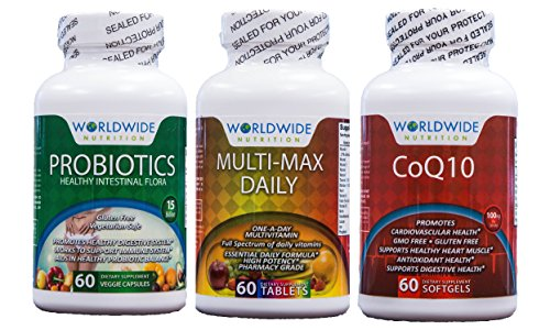 Worldwide Nutrition General Health Kit, Probiotics, Multi-vitamins, CoQ10 Heart Health Supplement, 180 Capsules