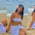 Nia Sharma Looks Bewitching in Bandeau Bra,Button-Down Skirt, White Flower in Hair and Bold Red Lips! Watch Her Sexy Slow-Mo Dance Video and Pics From Pondicherry